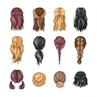 Zestaw różnych fryzur dla kobiet