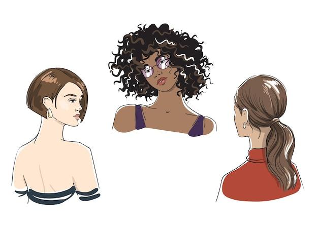 Zestaw różnych fryzur kobiecych, ilustracji wektorowych kobiet różnych grup etnicznych