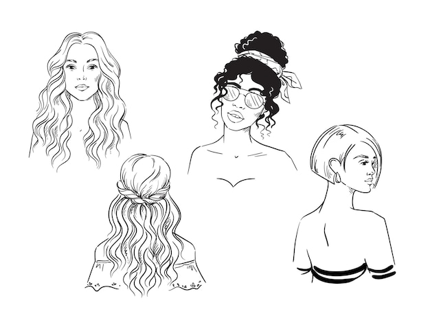 Zestaw różnych fryzur kobiecych wektor czarno-biały szkic