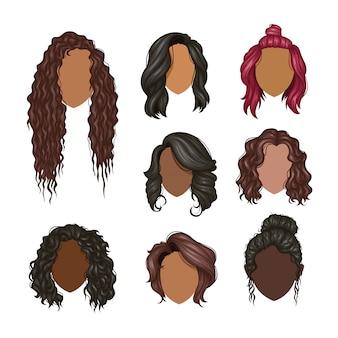 Zestaw różnych fryzur kobiet