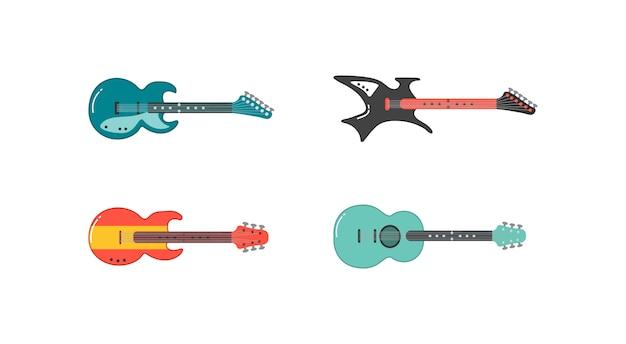 Zestaw różnych gitar. akustyczna, elektryczna gitara i ukulele. instrumenty muzyczne smyczkowe