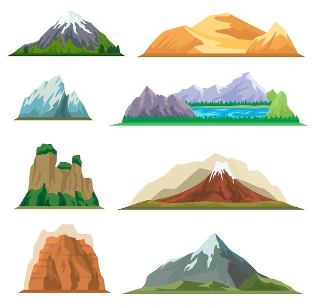 Zestaw różnych górskich na białym tle