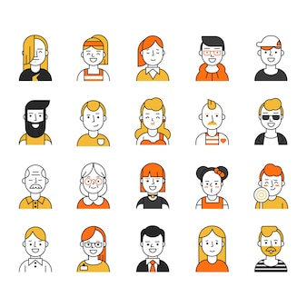 Zestaw różnych ikon awatarów w stylu mono-line