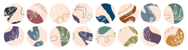 Zestaw różnych ikon liści i kwiatów, abstrakcyjne kształty.