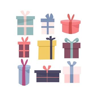 Zestaw różnych ikon na białym tle zapakowanych kolorowych pudełek prezentowych w innym kształcie.