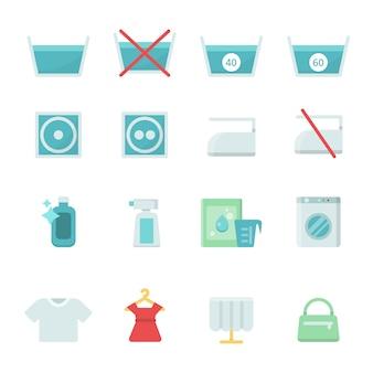 Zestaw różnych ikon prania