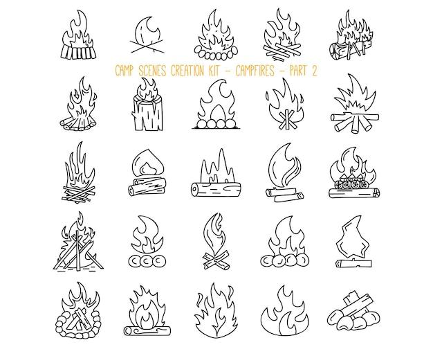 Zestaw różnych ikon przy ognisku. część 2