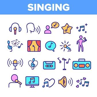Zestaw różnych ikon śpiewu