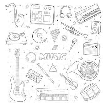 Zestaw różnych instrumentów muzycznych. ilustracja konturowa.