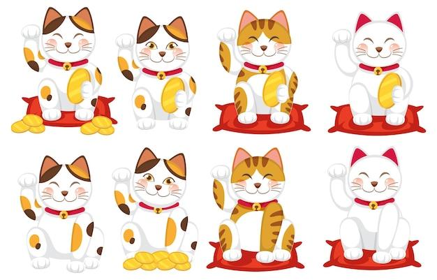 Zestaw różnych japońskich kotów szczęśliwych maneki neko