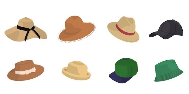 Zestaw różnych kapeluszy. akcesoria męskie i żeńskie w stylu cartoon.
