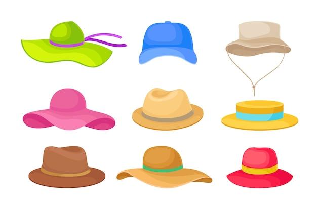 Zestaw różnych kapeluszy letnich dla mężczyzn i kobiet. ilustracja na białym tle.