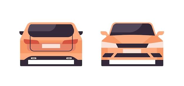Zestaw różnych kątów żółty samochód koncepcja usługi naprawy samochodu widok z przodu iz tyłu poziome na białym tle ilustracji wektorowych