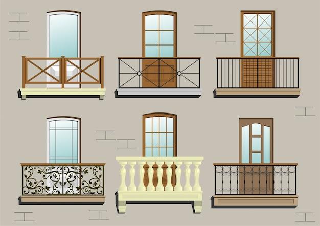 Zestaw różnych klasycznych balkonów w grafice wektorowej.