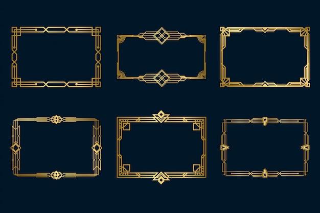 Zestaw różnych klasycznych złotych ramek