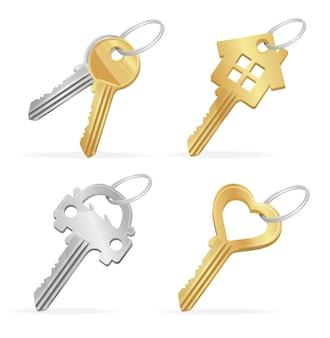 Zestaw różnych kluczy do domu, samochodu, koncepcji własności serca. ilustracja wektorowa