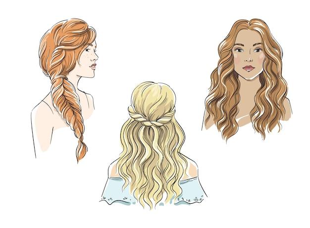 Zestaw różnych kobiecych fryzur z ilustracji wektorowych z długimi włosami