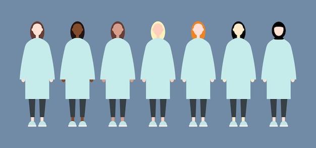 Zestaw różnych kobiet wyścigu wektor z długimi włosami. ładny i prosty nowoczesny styl płaski