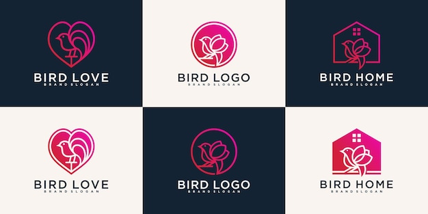 Zestaw różnych kolekcji projektów logo ptaków premium wektor
