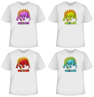 Zestaw różnych kolorów kreskówek dinozaurów na koszulkach