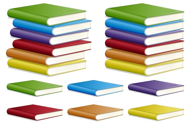 Zestaw różnych kolorów książki
