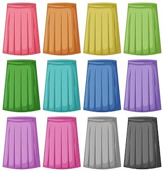Zestaw różnych kolorów spódnicy