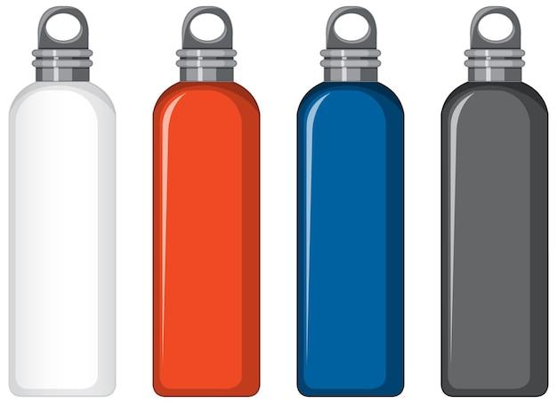 Zestaw różnych kolorowych metalowych butelek na wodę na białym tle