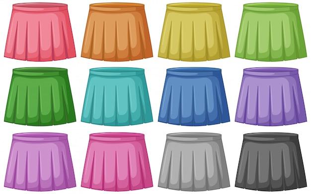 Zestaw różnych kolorowych spódnic