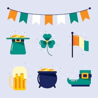 Zestaw różnych kolorowych ul. elementy patrick's day