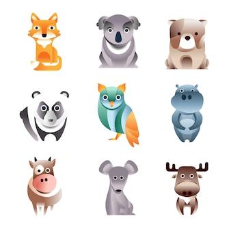 Zestaw różnych kolorowych zwierząt, ilustracje w stylu geometrycznym