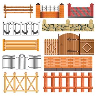 Zestaw różnych konstrukcji ogrodzenia