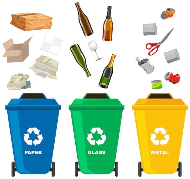 Zestaw różnych kosz na śmieci