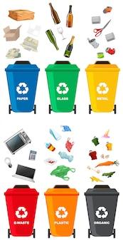 Zestaw różnych kosza na śmieci