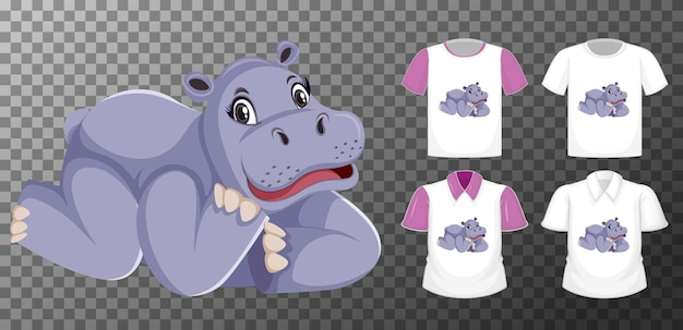 Zestaw różnych koszul z postać z kreskówki hipopotama na przezroczystym tle