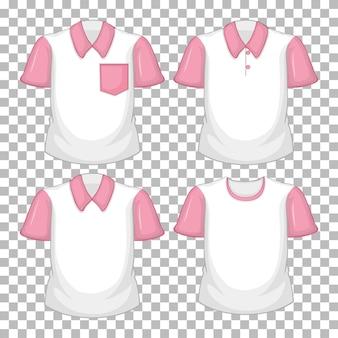 Zestaw różnych koszul z różowymi rękawami na białym tle