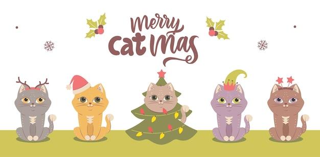 Zestaw różnych kotów do projektów logo wesołych świąt itp. kolekcja zwierząt zimowych