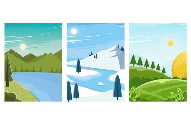 Zestaw różnych krajobrazów
