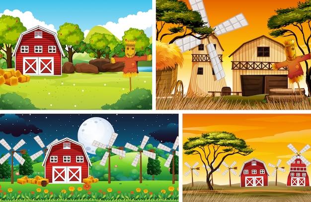Zestaw różnych kreskówek scen stylu farmy