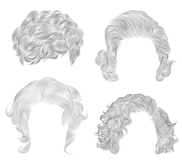 Zestaw różnych krótkich kręconych włosów. moda uroda afrykański styl. szkic ołówkiem grzywka.