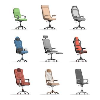 Zestaw różnych krzeseł roboczych