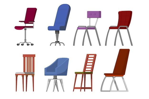 Zestaw różnych krzeseł w stylu cartoon biura.