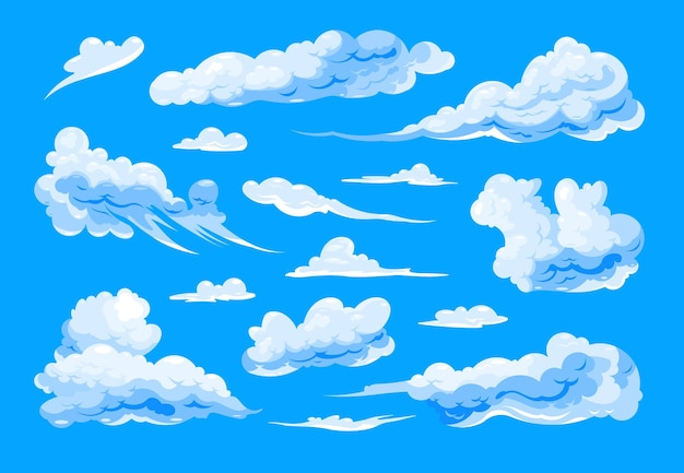 Zestaw różnych kształtów cirrus i cumulus