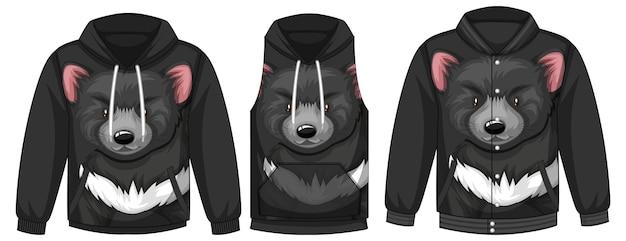 Zestaw różnych kurtek z szablonem czarnego niedźwiedzia