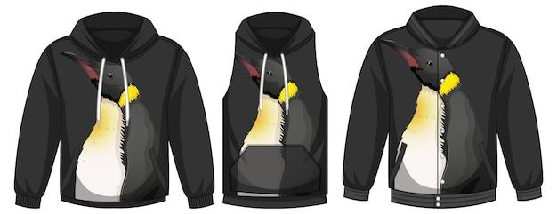 Zestaw różnych kurtek z szablonem pingwina