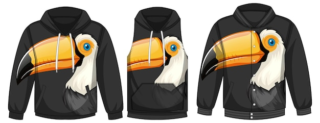 Zestaw różnych kurtek z szablonem ptaka tukana