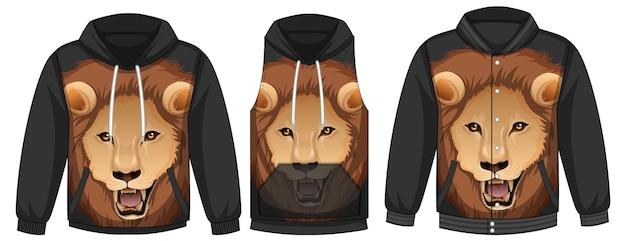 Zestaw różnych kurtek z szablonem twarzy lwa