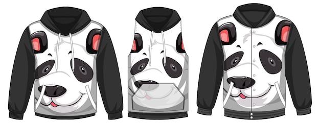 Zestaw różnych kurtek z szablonem twarzy pandy