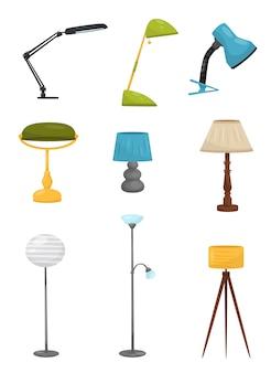Zestaw różnych lamp podłogowych i biurkowych. elementy wystroju domu. urządzenia oświetleniowe. dekoracyjne przedmioty wewnętrzne