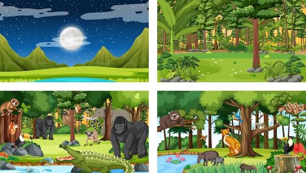 Zestaw różnych leśnych scen poziomych z różnymi dzikimi zwierzętami