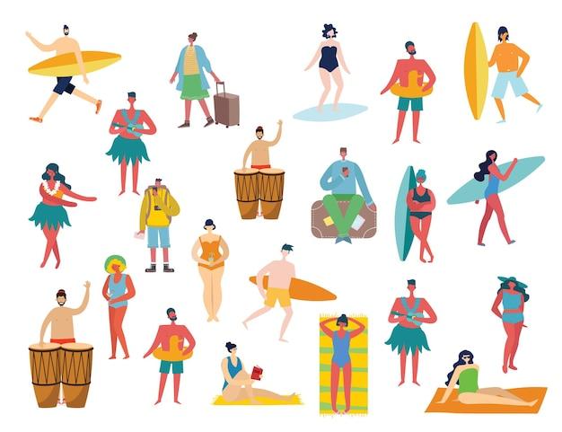 Zestaw różnych letnich podróży ludzi i ikon w płaskim stye